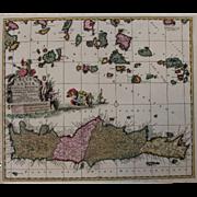 17th Century Map of Crete and the Greek Islands (Nicolas Visscher)