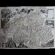 Rare huge antique Map of Switzerland (SCHEUCHZER, Johann Jakob 1712)