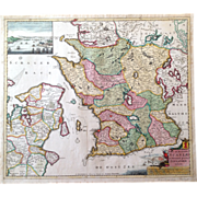 Beautiful and very rare antique map of South Sweden (Pierre Mortier circa 1690)