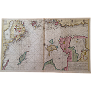 Rare Original Map Sea Chart of northern Baltic Sea (Keulen circa 1700)