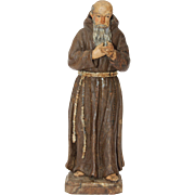 19th Century Wood carved Statue of a Franciscan Friar (Continental Europe)