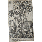 "16th Century Copper Engraving ""Envy"" by Old Master Heinrich Aldegrever"