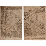 "16th Century Set of 2 Copper Engravings from ""The Labors of Hercules"" by Old Master Heinrich Aldegrever"