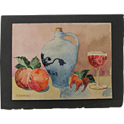 1910's Art Nouveau Still Life by Franz Brantzky / Aquarelle Watercolor Painting from Europe