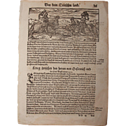 """16th Century Woodcut of knights / Book page of Cosmographia (Sebastian Münster) - """"About theTeutones"""""""
