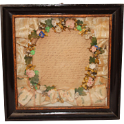 Antique Biedermeier Silk Flower Mourning Wreath in Shadow Box Frame