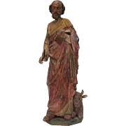 1800s Original Gothic Revival Statue St. Luke the Evangelist - carved wood (German)