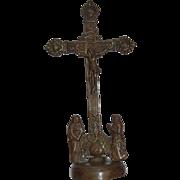 Baroque Bronze Cross Crucifixion Group - Original 18th Century Handwork