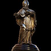 1700s Original Antique Baroque Bishop - Silver plated Bronze