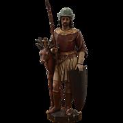 1800s Original Antique Statue St. Hubertus / Hubert - carved wood (German)