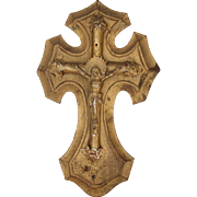 Vintage Crucifix / Jesus Christ on the Cross Carved Wood and Metal