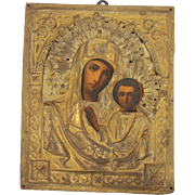 Antique Russian Icon depicting Mother Mary & Child Jesus Christus , 19th century