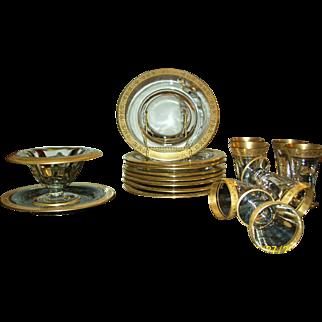 Vintage Gold and Clear Glass Dessert/Tea Set