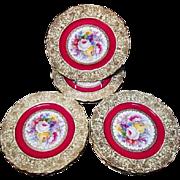 Allach Porcelain - Set of Twelve Floral Service Plates - Czechoslovakian