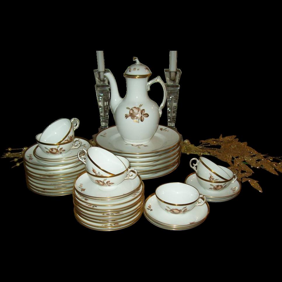 royal copenhagen brown rose porcelain luncheon set from. Black Bedroom Furniture Sets. Home Design Ideas