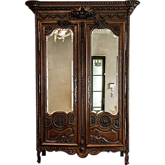18th C. French Normandy Carved Oak Wedding Wardrobe