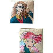 Two Vintage Emily Ann of Boca Raton Handpainted and Signed Leather Coin Purses, c. 1980s