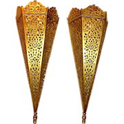 Vintage Laser-Cut Brass Sconces from Morocco, c. 1930