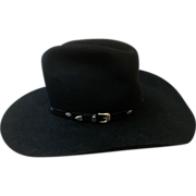 "Vintage Black Stetson 10 X Beaver Cowboy Hat with Custom-made Hatband of Solid Sterling Silver Conchos on 1/2"" Beaver Felt"