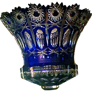 Jose Benito Cut Crystal Cobalt Blue Centerpiece, c. Early 1900s