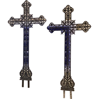 A Pair of Matching Antique French Cast Iron Field Crosses, C. 1850