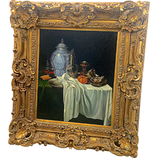 Beautiful Oil on Canvas Still Life framed with a Wooden Carved Rococo Frame