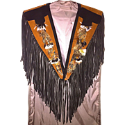 "Vintage Handmade, Signed ""S. Hyde"" of Dallas Leather, Suede and Feather Western Fringe Shawl"
