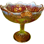 Antique Northwood Everglades Canary Yellow Vaseline Opalescent Compote, c. 1903