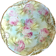 Antique Royal Bayreuth Rose Tapestry Plate, c. 1910
