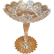 American Brilliant Cut Glass Tall Averbeck Compote