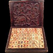 Rare Antique Mah Jong Game Ebony and Bone Tiles
