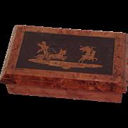 Antique French Marquetry Burr Walnut Pen Nib Box Cherubs/ Putti Goat Chariot C.1890