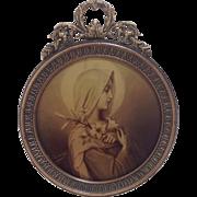 Miniature French Madonna in Gilt Metal Circular Frame C.1900