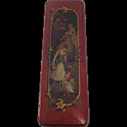 Red Lacquered Papier-Mache Glove box C.1900