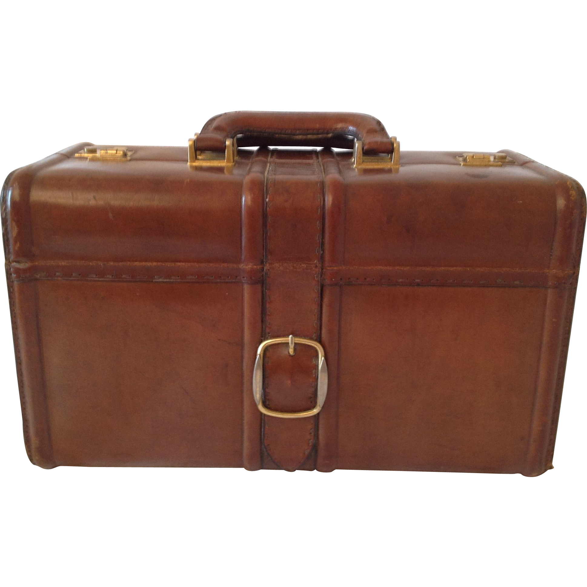 beautiful vintage french real leather suitcase from myfrenchattic on ruby lane. Black Bedroom Furniture Sets. Home Design Ideas
