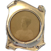 Edwardian Art Nouveau Sterling Silver Scroll Photo Frame. 1904.