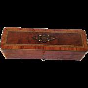 Napoleon III French Burr Walnut Marquetry Trinket, Jewel /Gloves Box.C.1870.