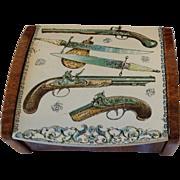 Vintage 1950's Tin Cigarette Desk box. Guns & Daggers.