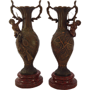 Superb Pair of French Patinated Spelter Cherub Vases. Hunting Fishing. Marble Bases C.1900