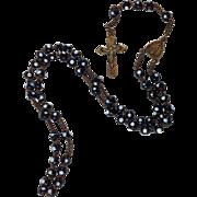 Beautiful Rare Venetian Black and White Glass Rosary Beads. C.1800's