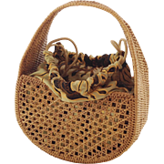 Vintage Small French Hand Basket With Fabric Lining. C. 1960's