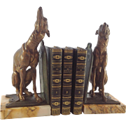 Pair of French Art Nouveau Bronzed Spelter and Marble Greyhound Dog Bookends. C.1900