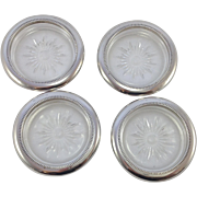 Set of Four Vintage Italian Cut Glass Coasters With Silver Plated Rim. C.1950's