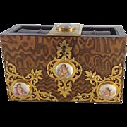 Antique English Bible Box. By Howell James Regent St, London. Limoges Style Cherubs, C.1900