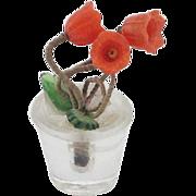 Old Czechoslovakian Glass Dolls House Pot Plant Orange Flowers. C 1910