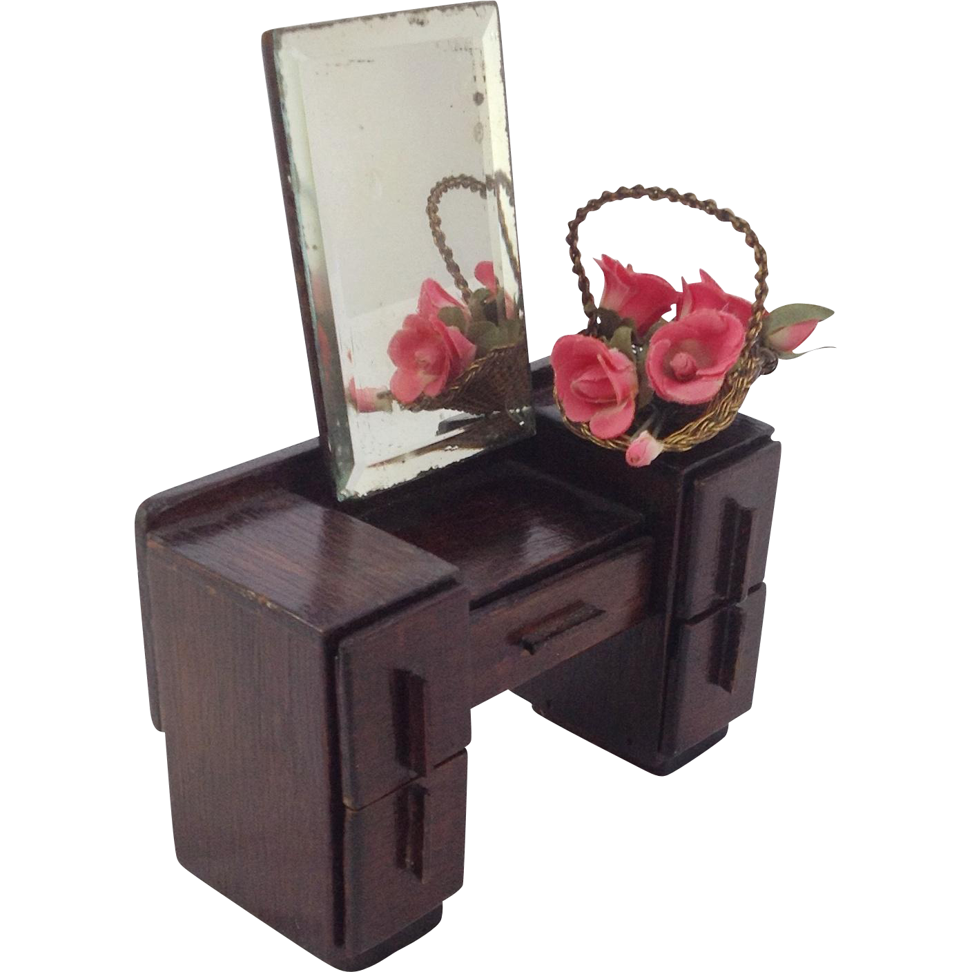 Vintage Dressing Table For Dolls House Bevelled Mirror C
