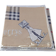 Genuine Vintage Burberry's Silk Scarf in Original Cellophane Packaging. Nova check, Trench Coats and Dogs Design.
