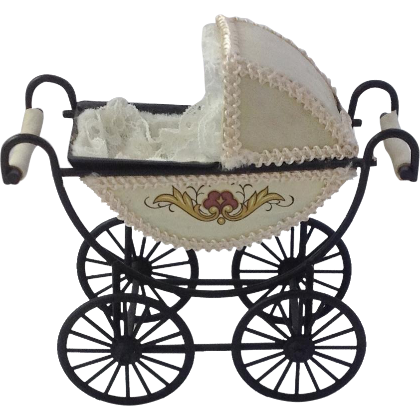 Vintage Dolls House Pram Pretty Miniature Baby Carriage