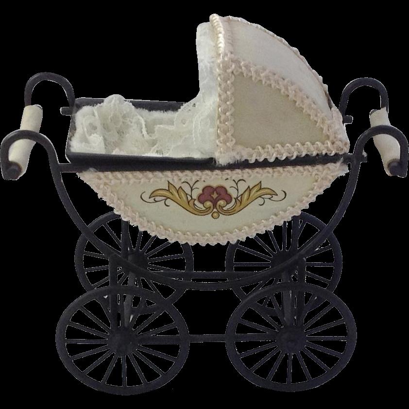 Vintage Dolls House Pram Pretty Miniature Baby Carriage