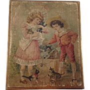 Antique French Six-Sided Lithograph Wood Block Puzzle Toy. C. 1890